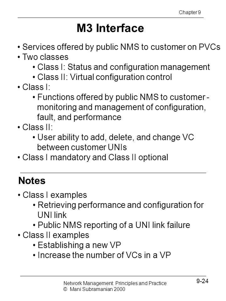 M3 Interface Notes Services offered by public NMS to customer on PVCs