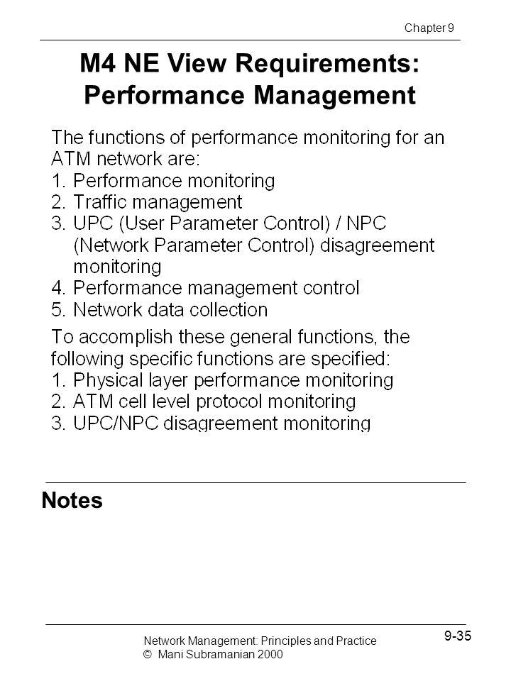 M4 NE View Requirements: Performance Management