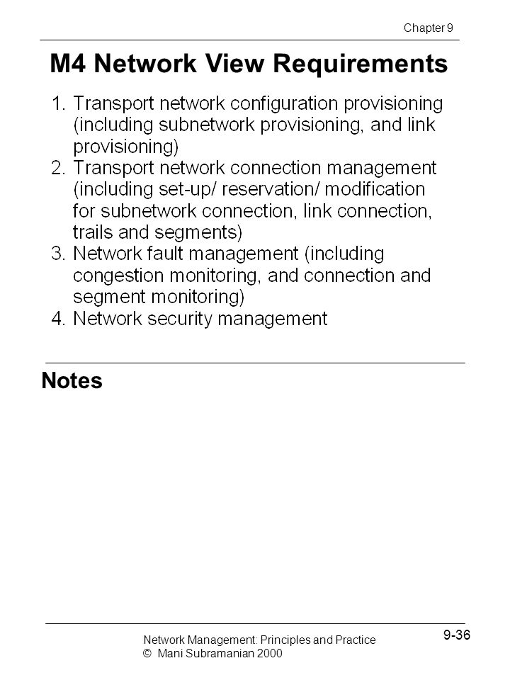 M4 Network View Requirements