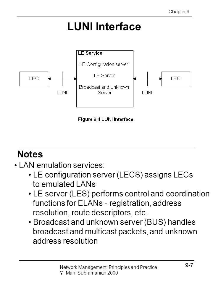 LUNI Interface Notes LAN emulation services:
