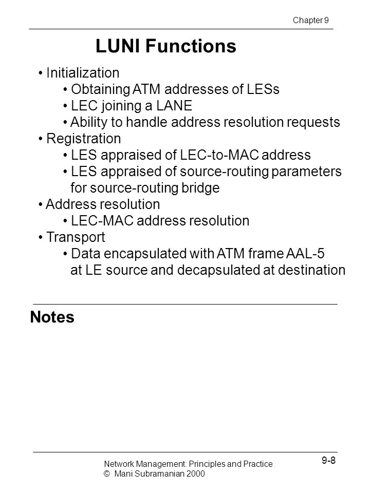LUNI Functions Notes Initialization Obtaining ATM addresses of LESs