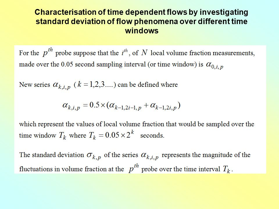 Characterisation of time dependent flows by investigating standard deviation of flow phenomena over different time windows
