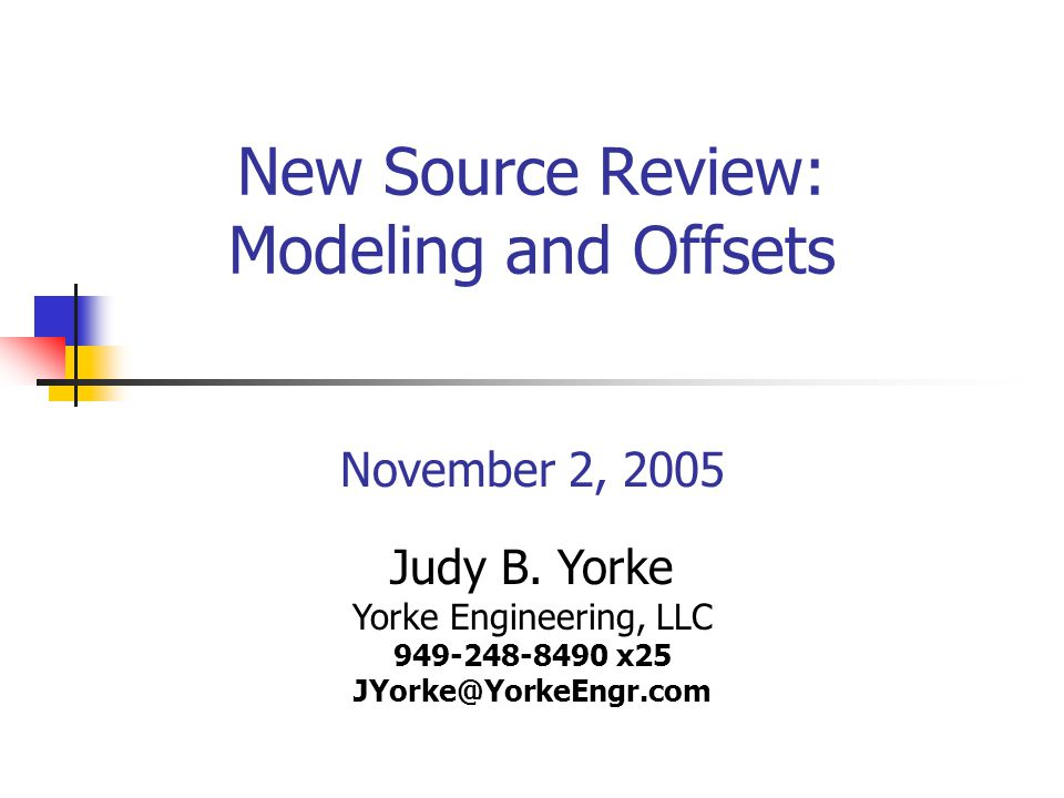 New Source Review: Modeling and Offsets