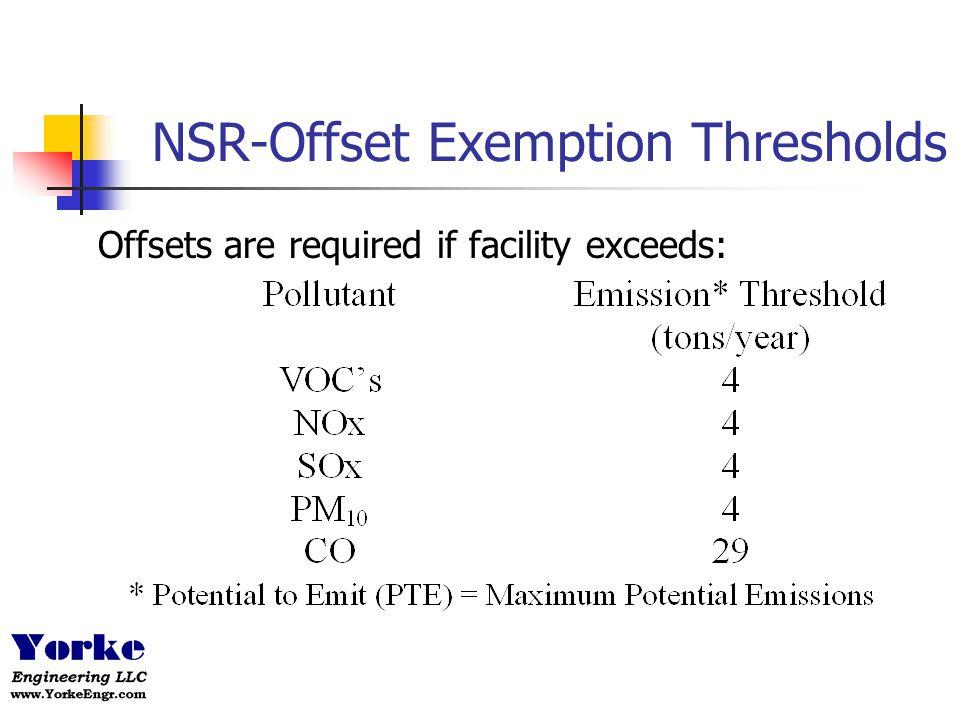 NSR-Offset Exemption Thresholds