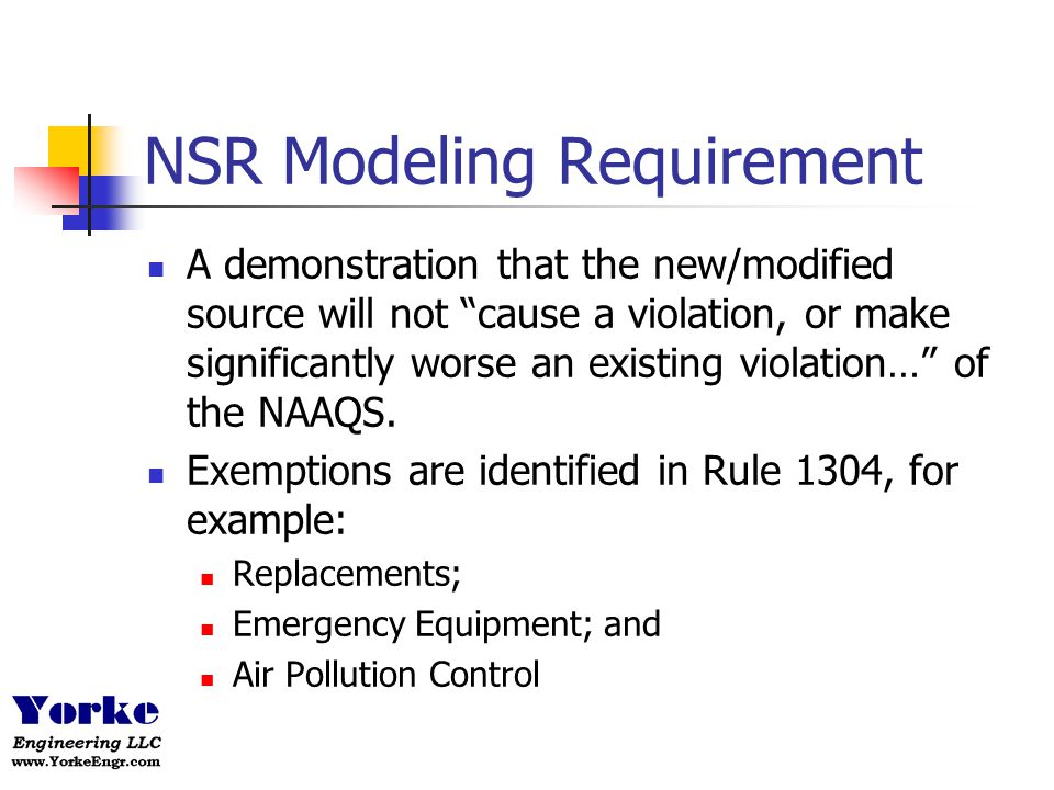 NSR Modeling Requirement