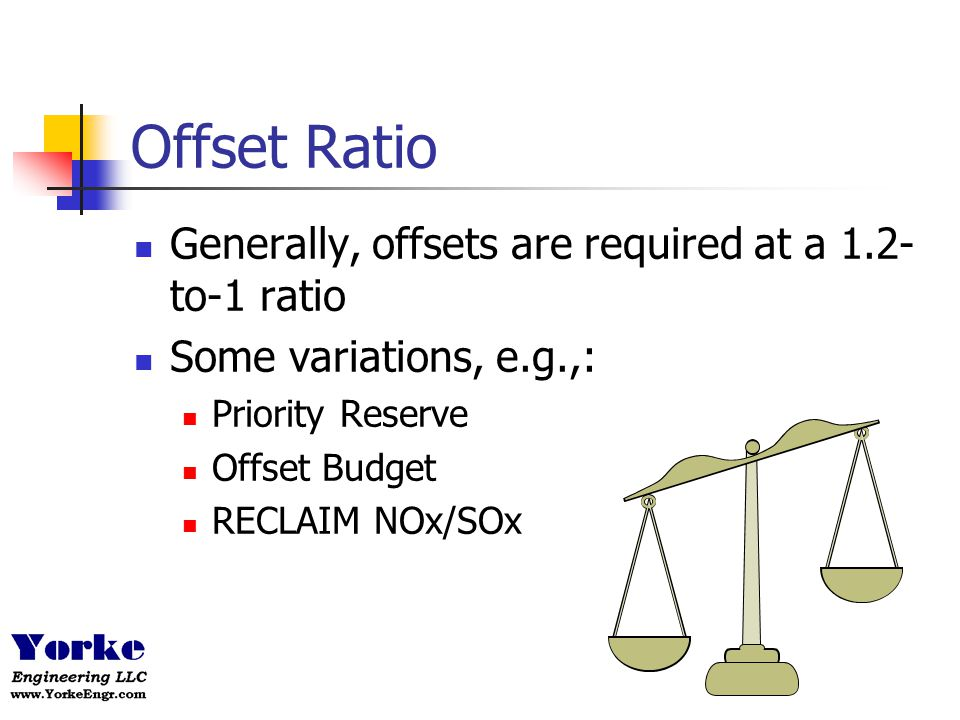 Offset Ratio Generally, offsets are required at a 1.2-to-1 ratio