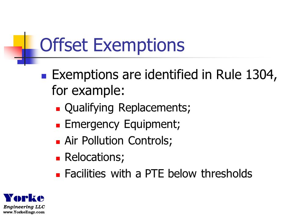 Offset Exemptions Exemptions are identified in Rule 1304, for example: