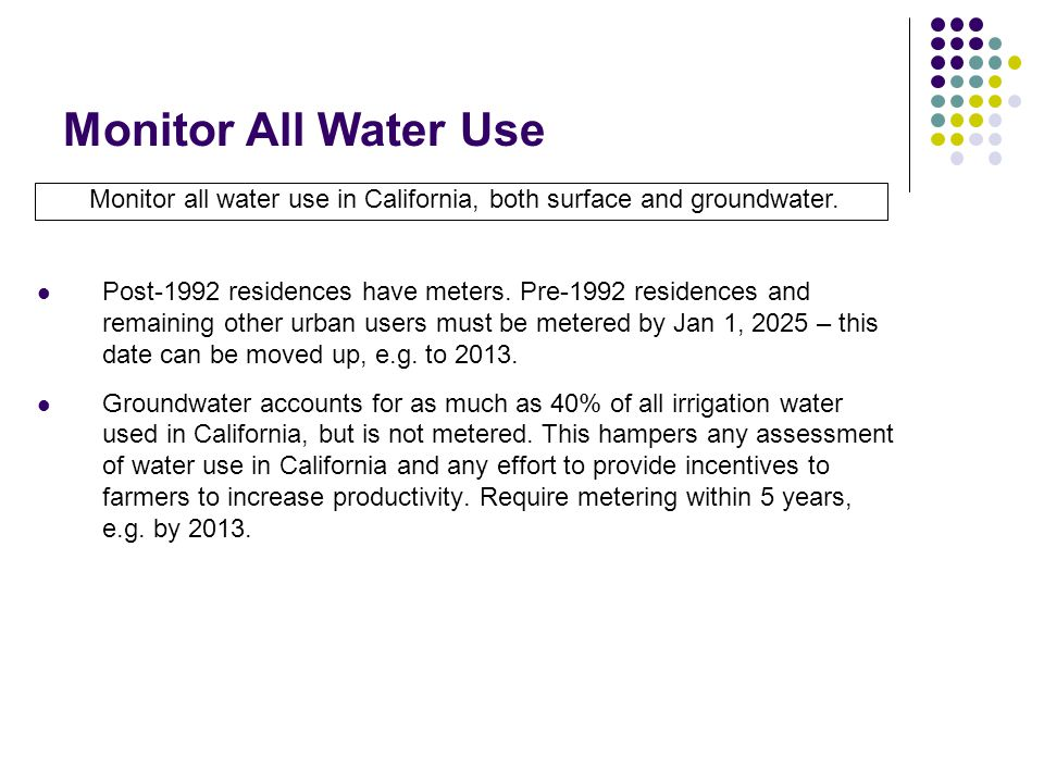 Monitor All Water Use Monitor all water use in California, both surface and groundwater.