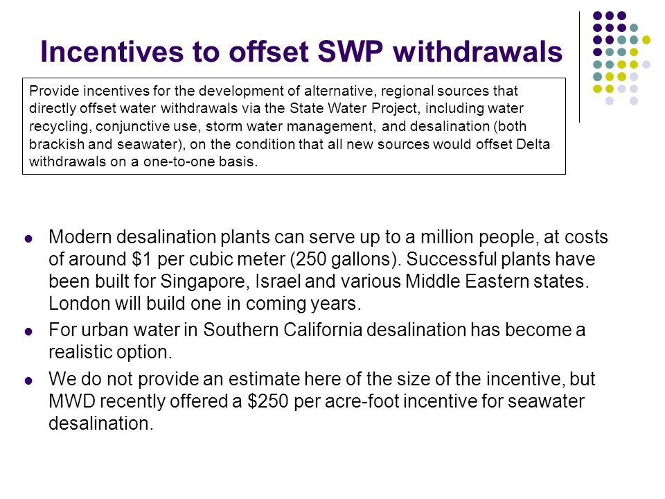 Incentives to offset SWP withdrawals