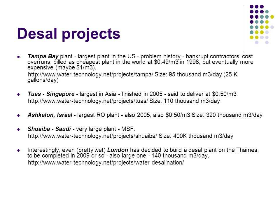 Desal projects