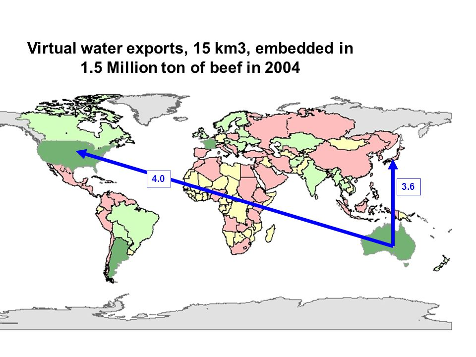 Virtual water exports, 15 km3, embedded in