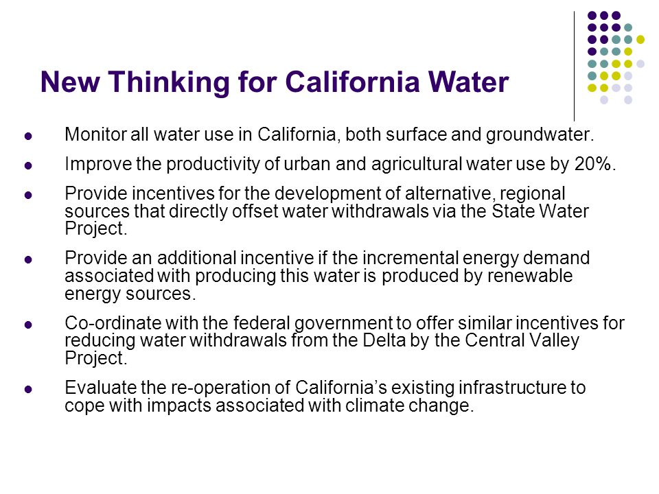 New Thinking for California Water