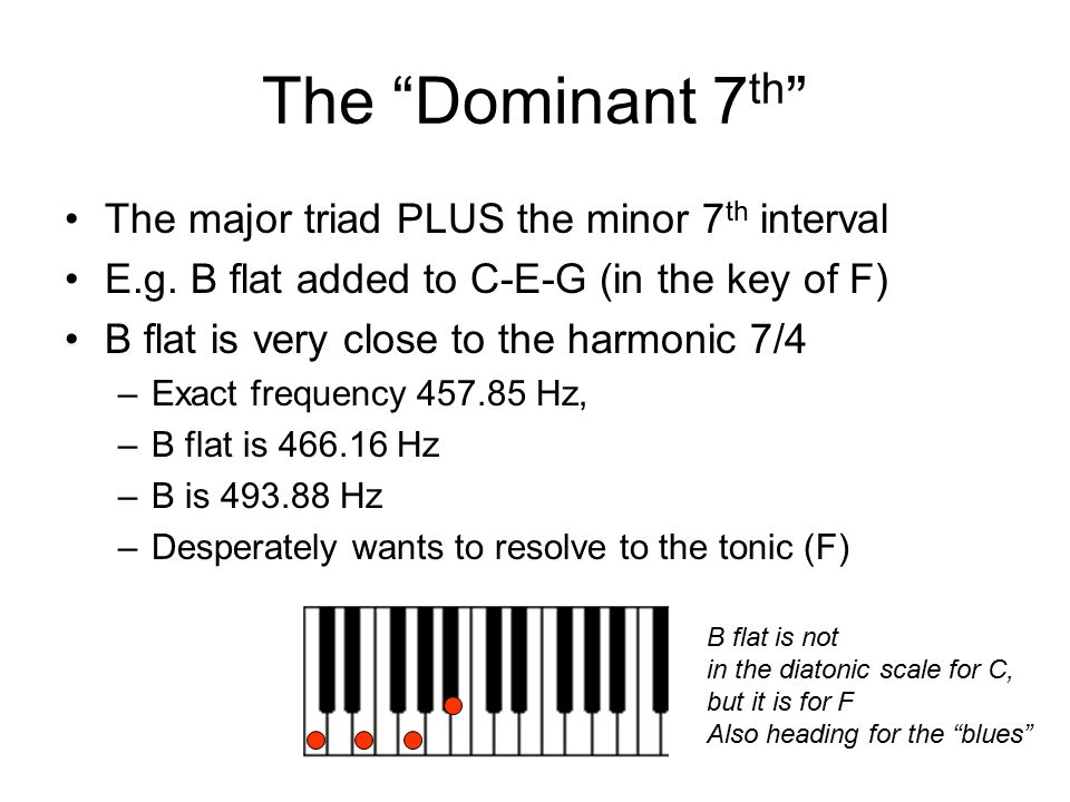The Dominant 7th The major triad PLUS the minor 7th interval