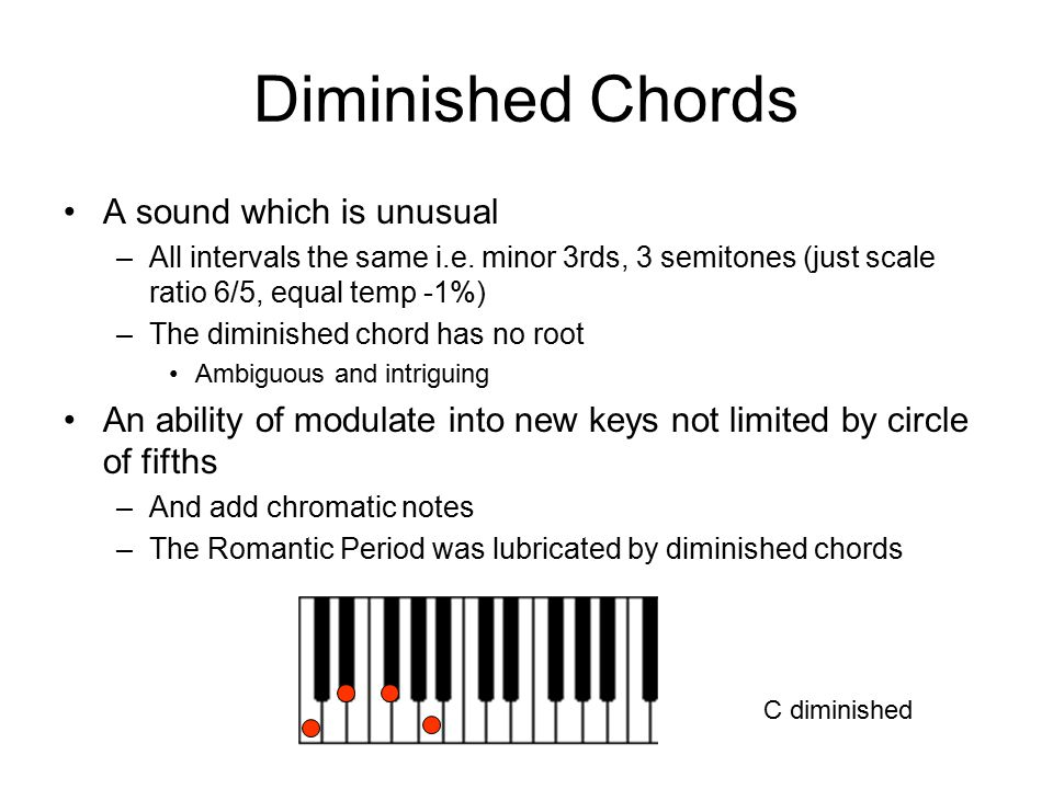 Diminished Chords A sound which is unusual