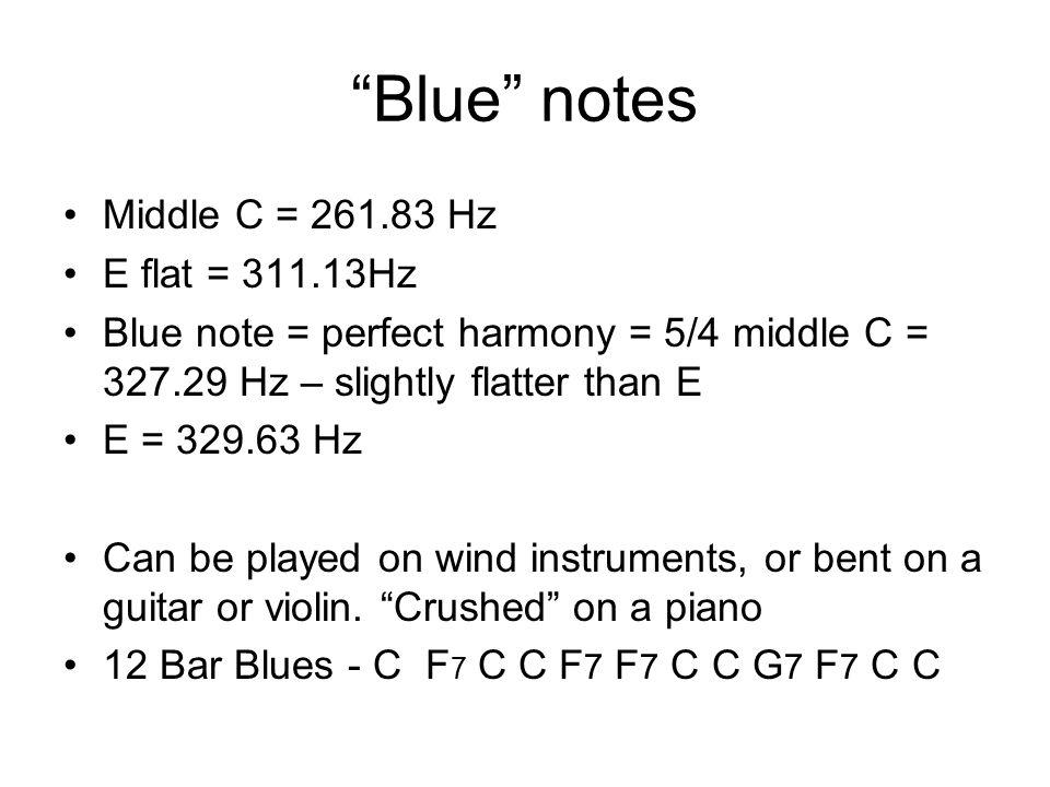 Blue notes Middle C = 261.83 Hz E flat = 311.13Hz