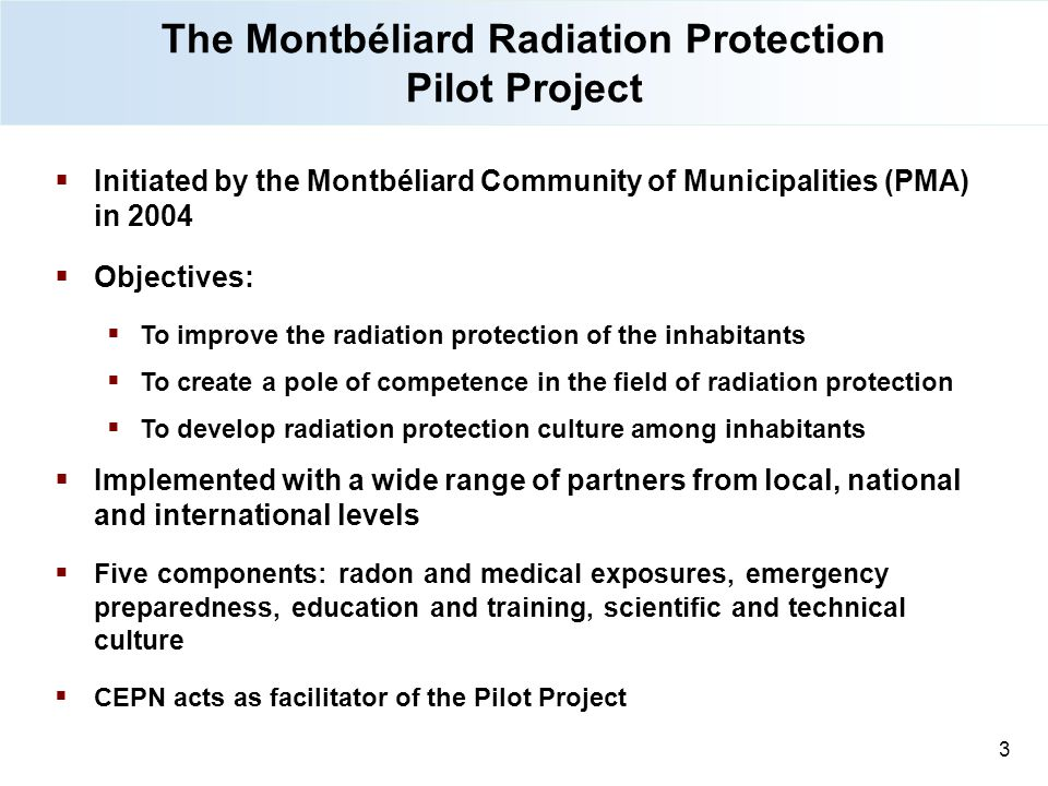 The Montbéliard Radiation Protection Pilot Project