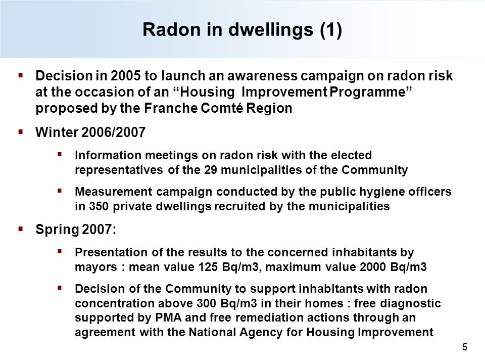 Radon in dwellings (1) 27/08/12.