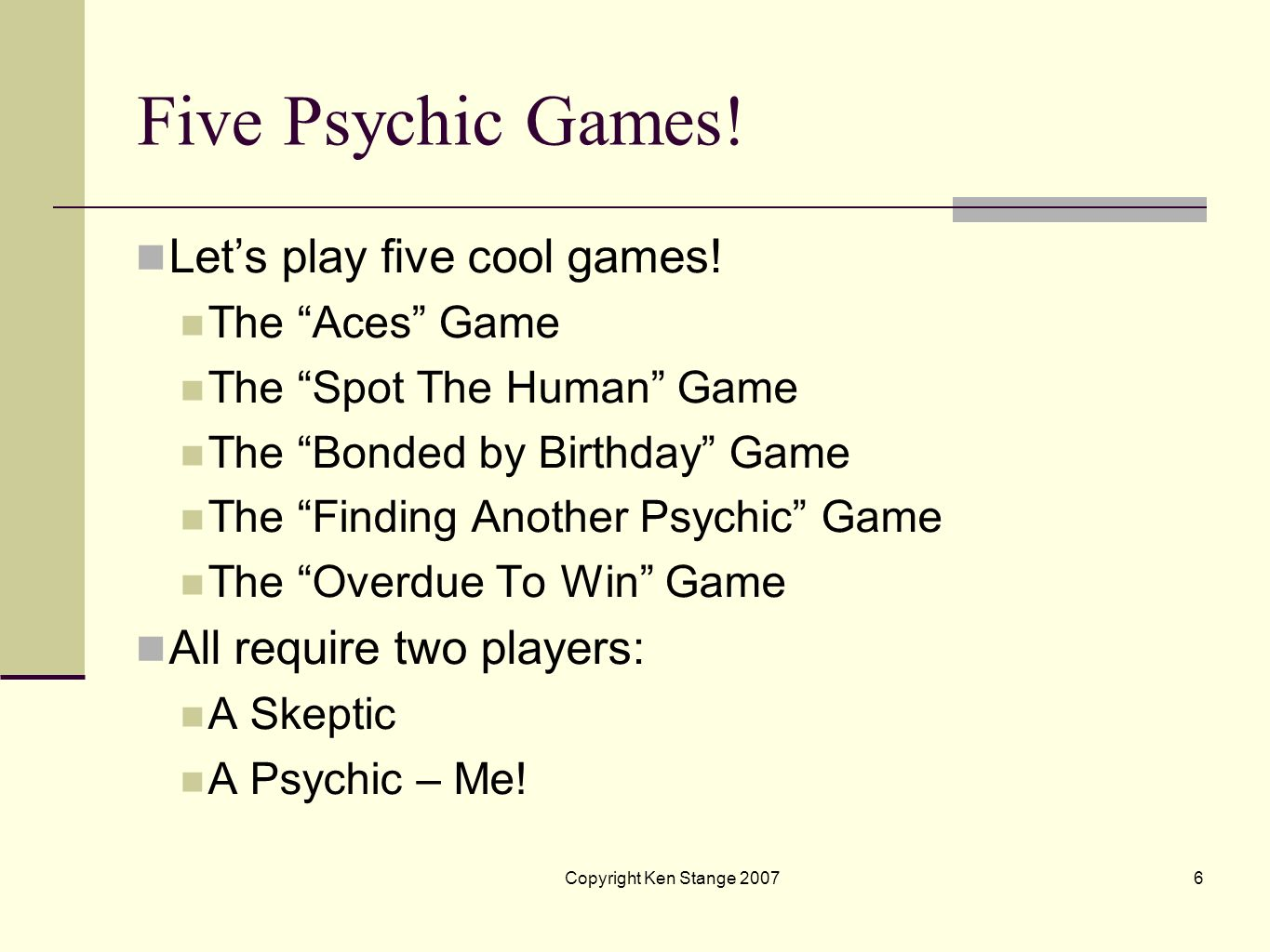 Five Psychic Games! Let's play five cool games!