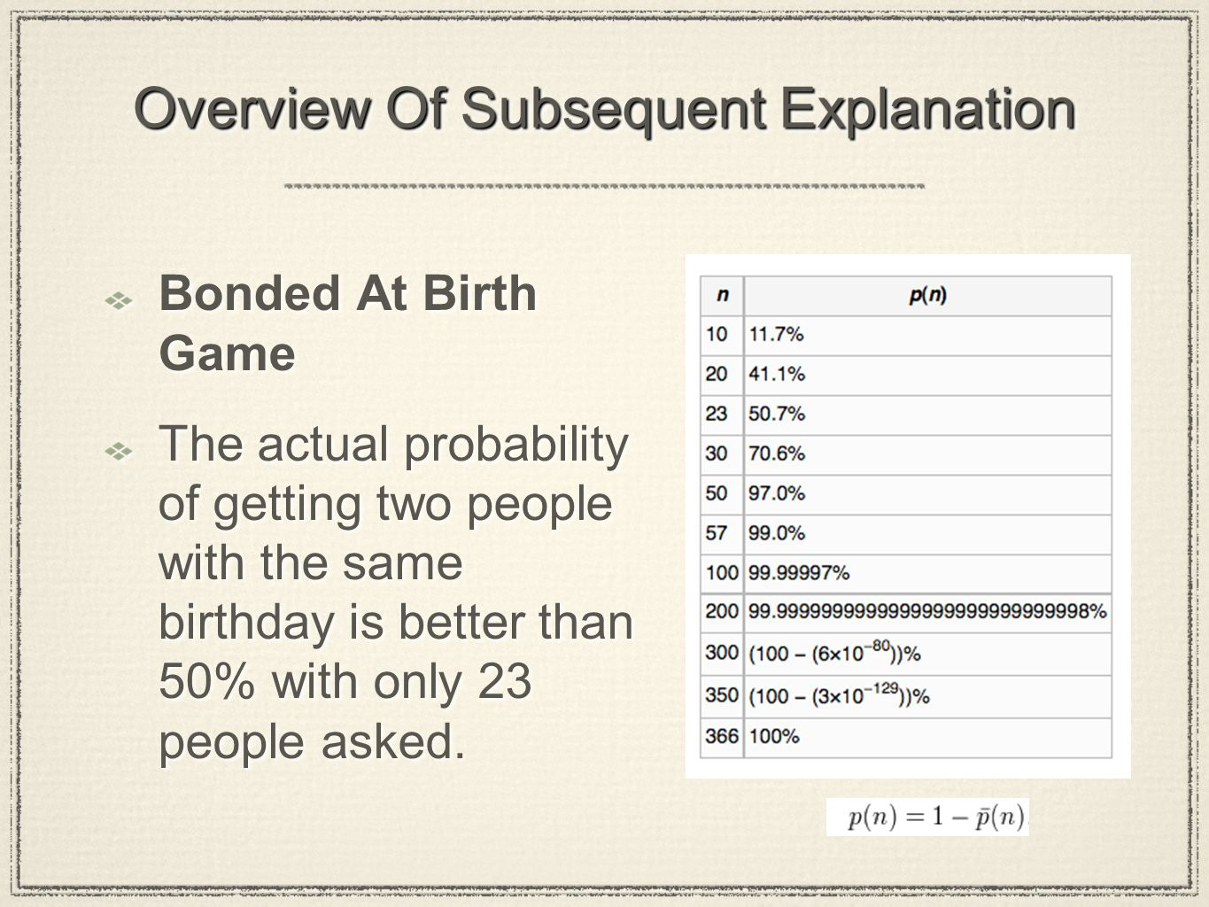 Overview Of Subsequent Explanation