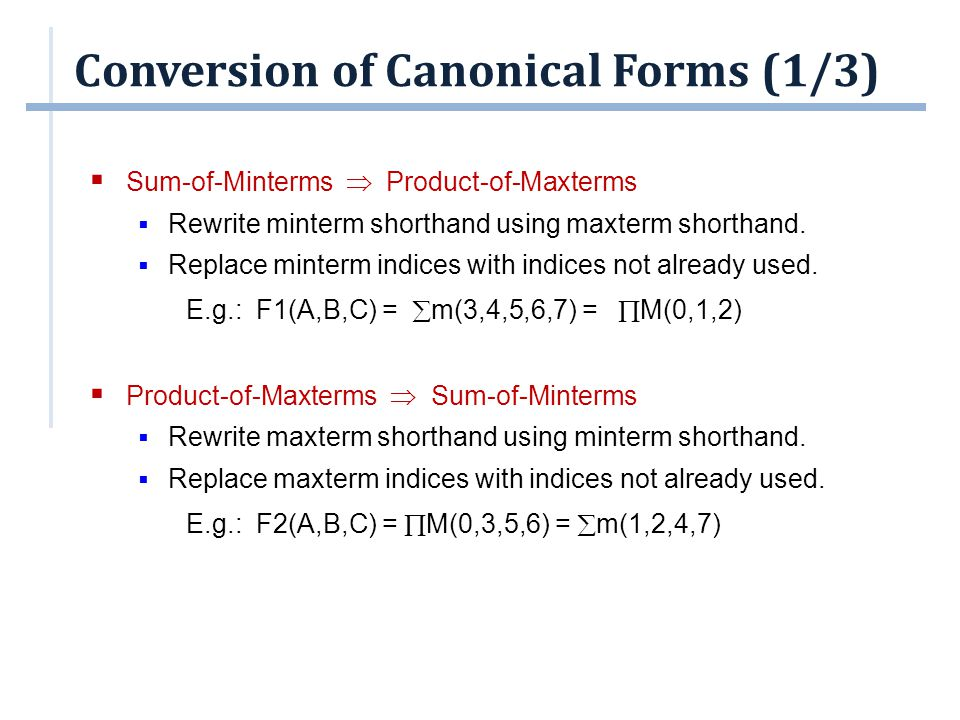 Conversion of Canonical Forms (1/3)