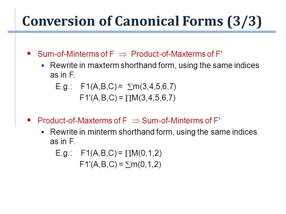 Conversion of Canonical Forms (3/3)