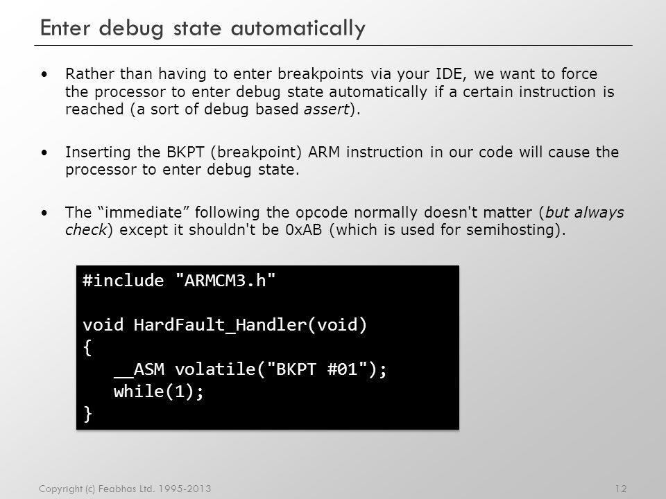 Enter debug state automatically
