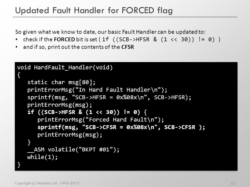 Updated Fault Handler for FORCED flag