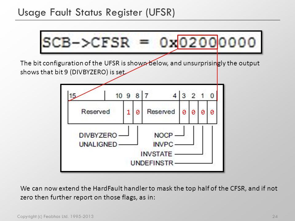 Usage Fault Status Register (UFSR)