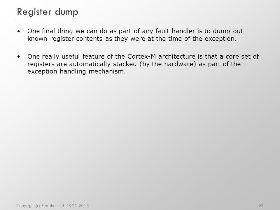 Register dump
