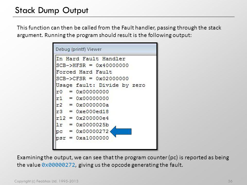 Stack Dump Output