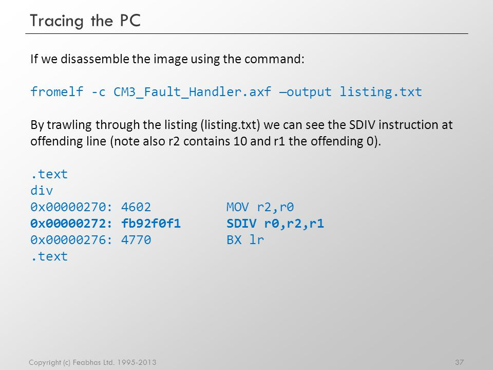 Tracing the PC If we disassemble the image using the command: