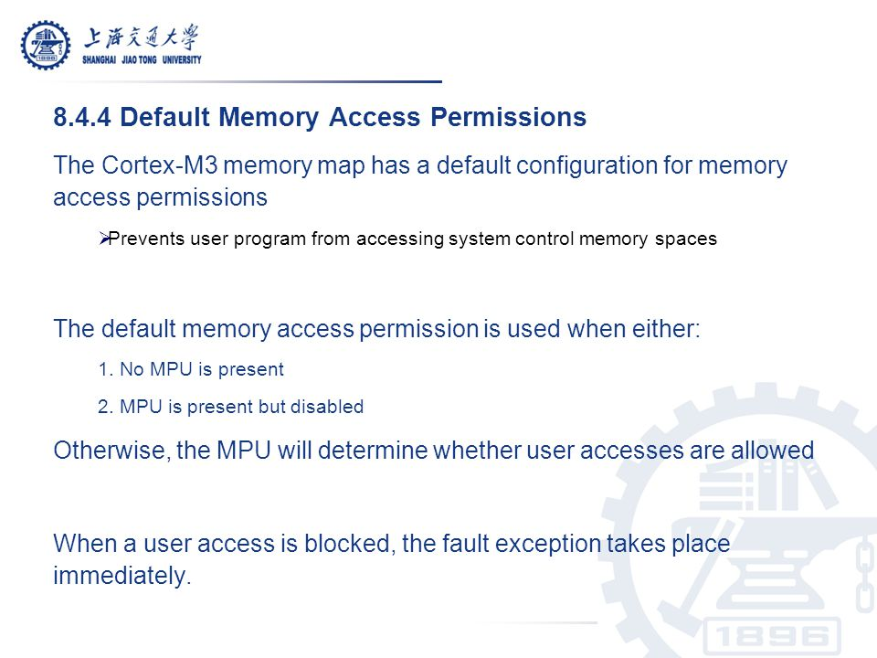8.4.4 Default Memory Access Permissions