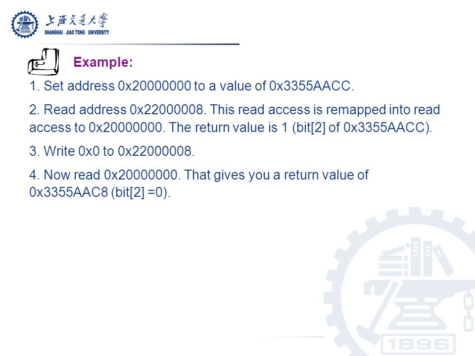 Example: 1. Set address 0x20000000 to a value of 0x3355AACC.