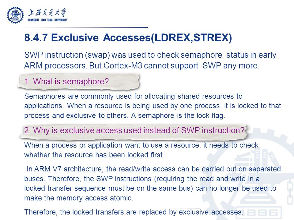 8.4.7 Exclusive Accesses(LDREX,STREX)