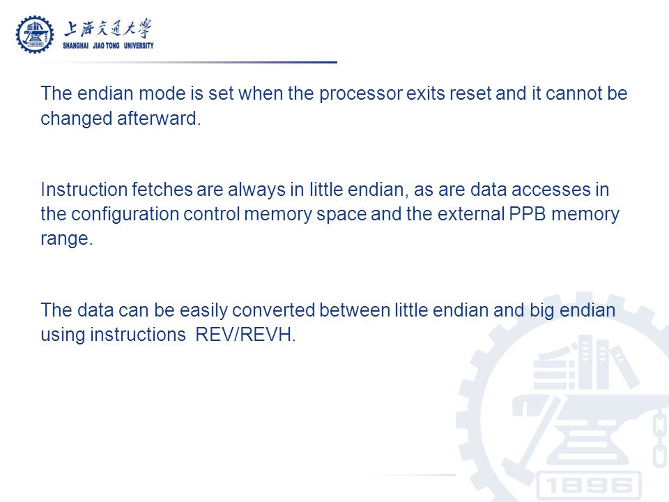 The endian mode is set when the processor exits reset and it cannot be changed afterward.