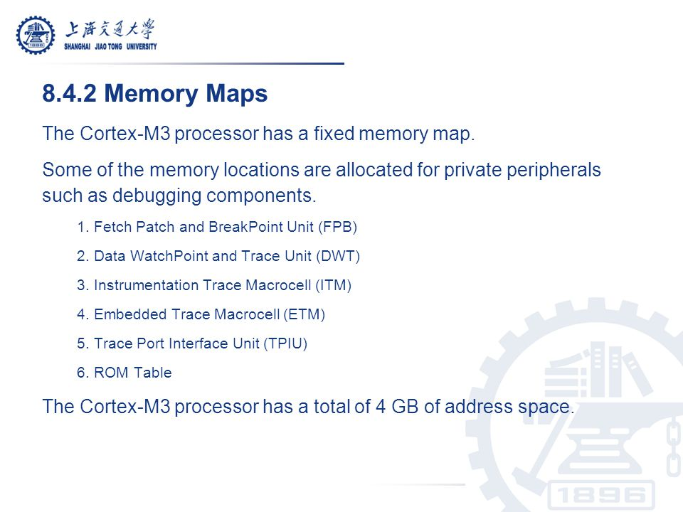 8.4.2 Memory Maps The Cortex-M3 processor has a fixed memory map.