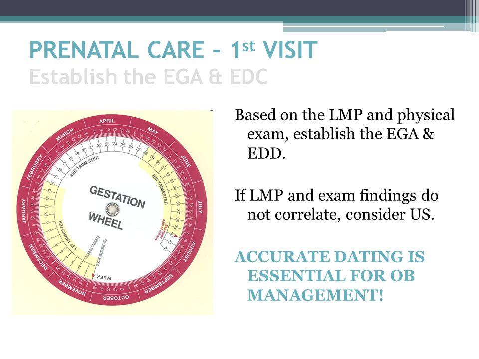PRENATAL CARE – 1st VISIT Establish the EGA & EDC