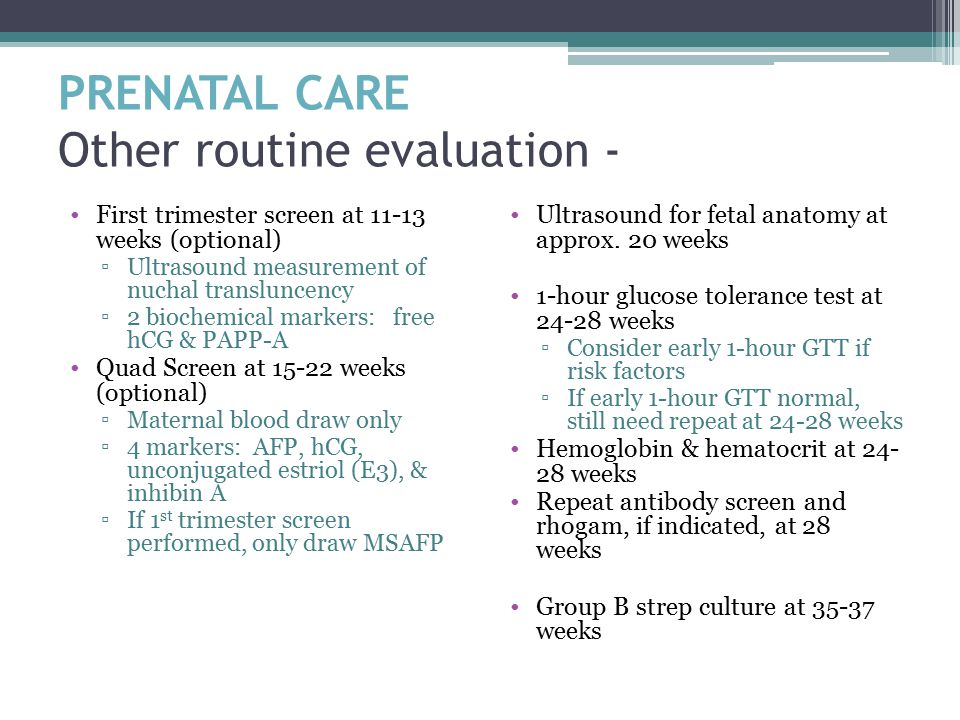 PRENATAL CARE Other routine evaluation -