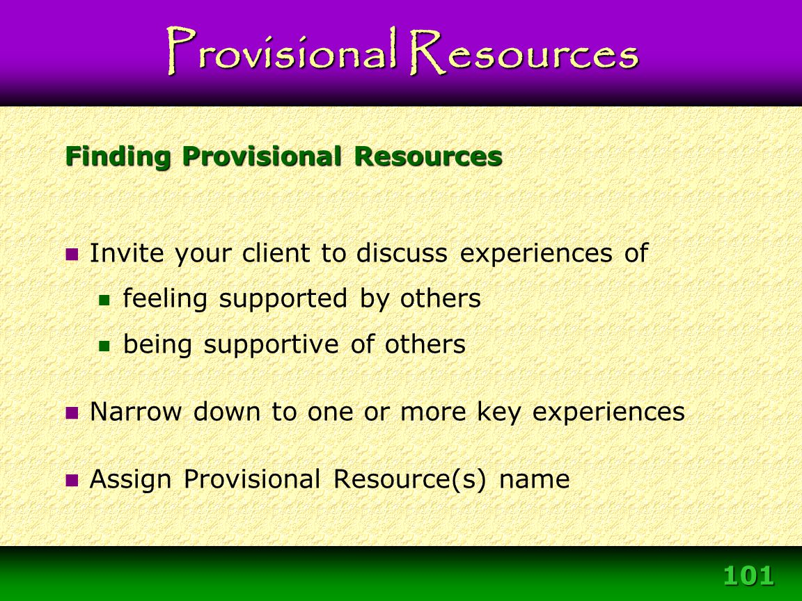 Finding Provisional Resources