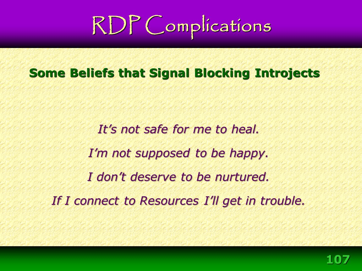 Some Beliefs that Signal Blocking Introjects