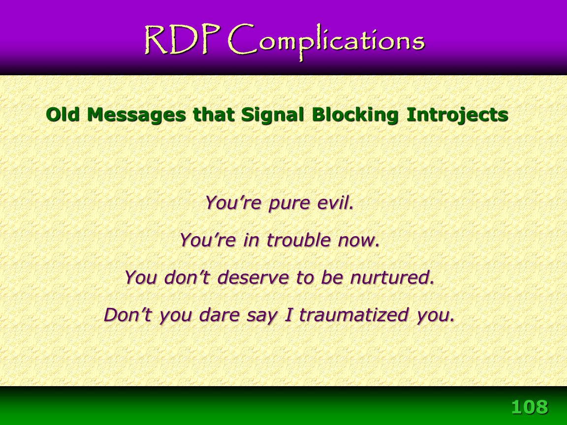 Old Messages that Signal Blocking Introjects