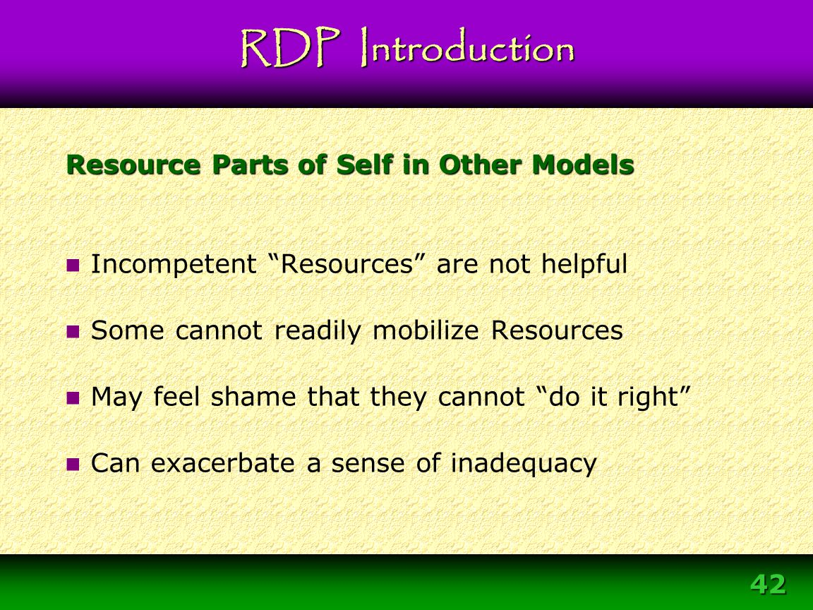 Resource Parts of Self in Other Models