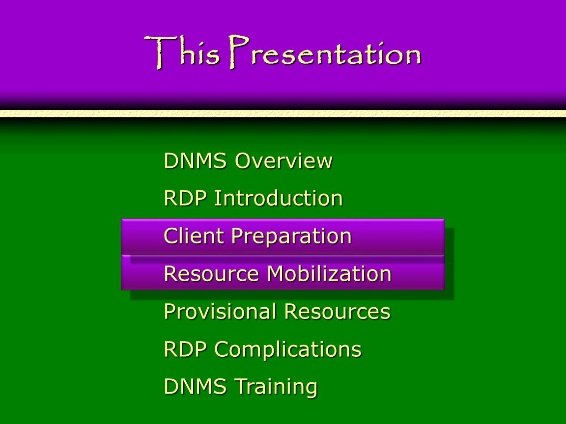 This Presentation DNMS Overview RDP Introduction Client Preparation