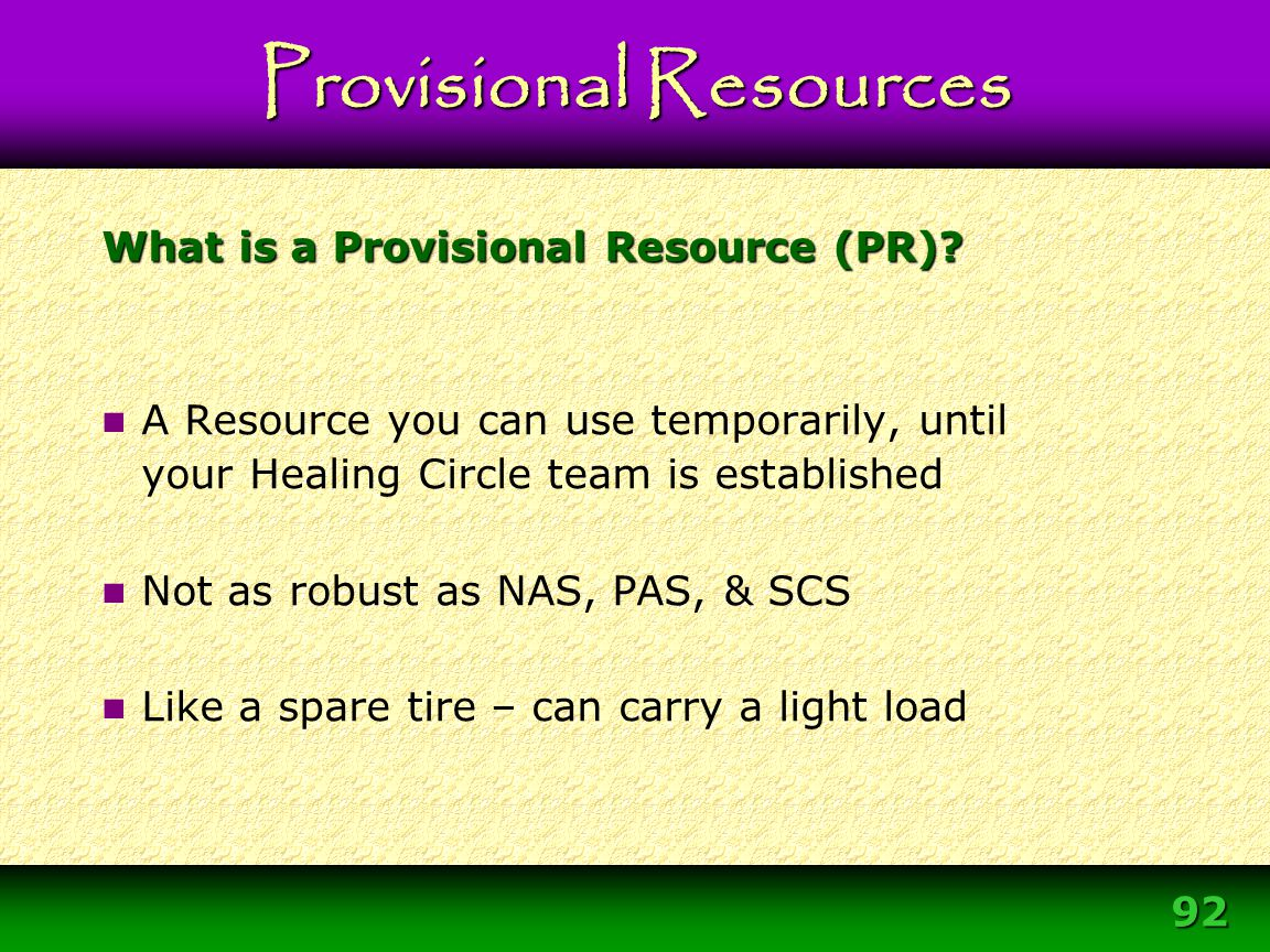 What is a Provisional Resource (PR)