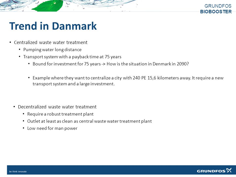 Trend in Danmark Centralized waste water treatment
