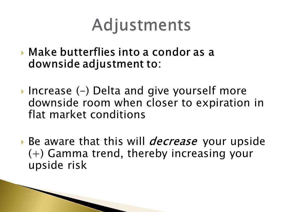 Adjustments Make butterflies into a condor as a downside adjustment to: