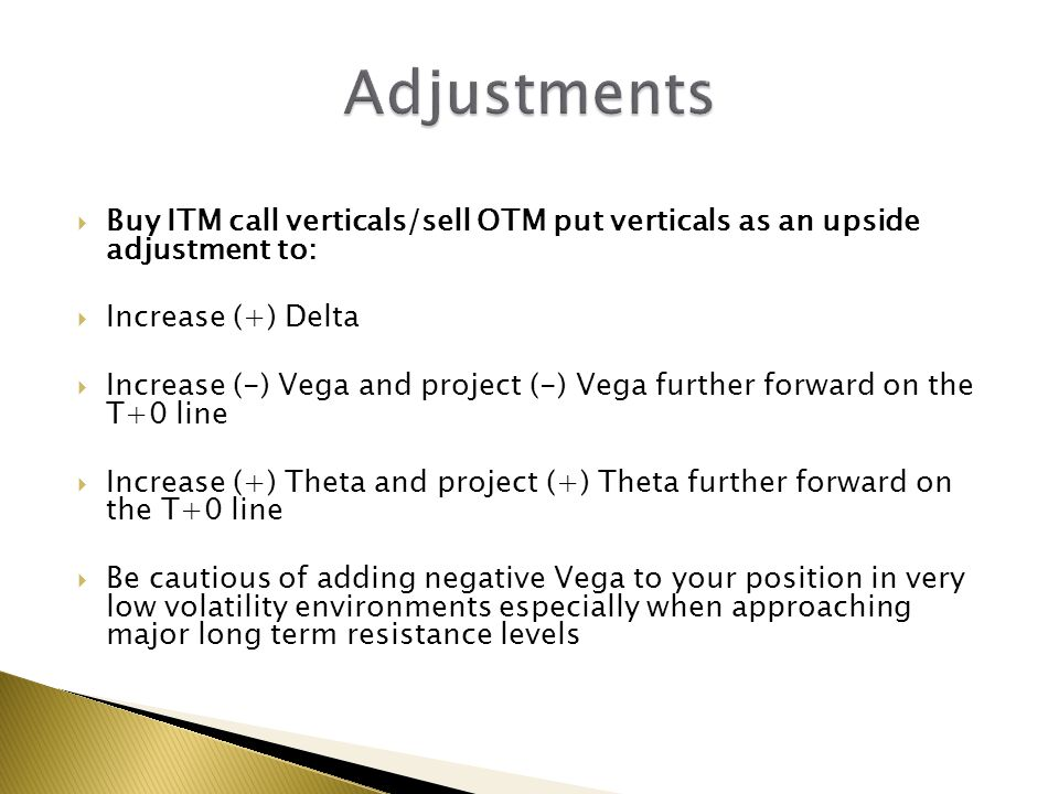 Adjustments Buy ITM call verticals/sell OTM put verticals as an upside adjustment to: Increase (+) Delta.