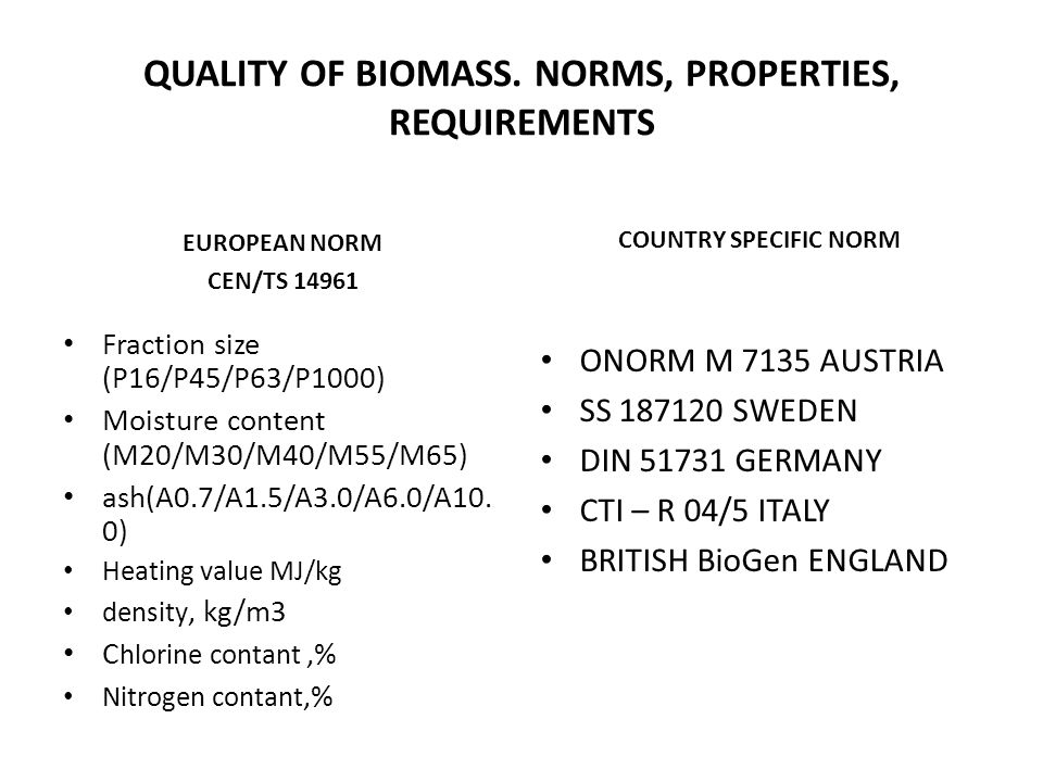 QUALITY OF BIOMASS. NORMS, PROPERTIES, REQUIREMENTS