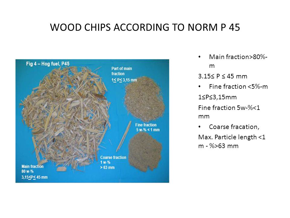 WOOD CHIPS ACCORDING TO NORM Р 45