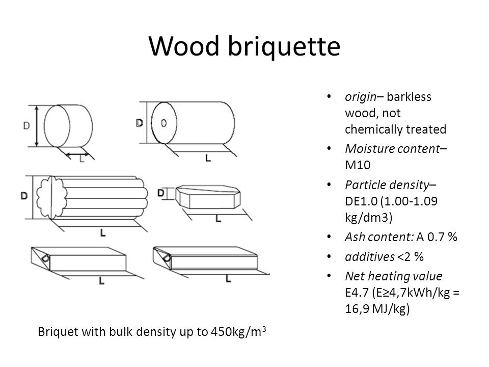 Wood briquette origin– barkless wood, not chemically treated